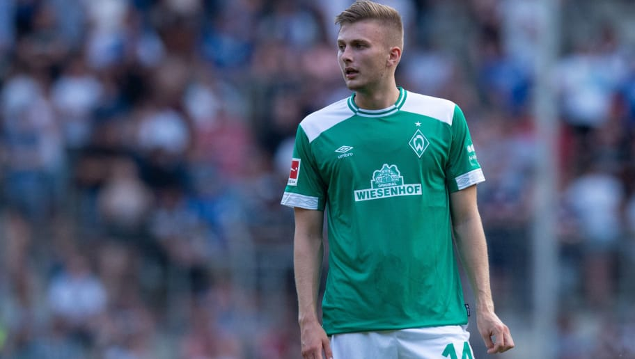 BIELEFELD, GERMANY - JULY 27: Ole Kaeuper of Werder Bremen looks on during the Friendly match between Arminia Bielefeld and SV Werder Bremen at SchücoArena on July 27, 2018 in Bielefeld, Germany. (Photo by TF-Images/Getty Images)