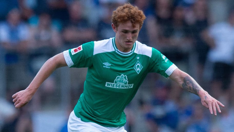 BIELEFELD, GERMANY - JULY 27: Josh Sargent of Werder Bremen controls the ball during the Friendly match between Arminia Bielefeld and SV Werder Bremen at SchücoArena on July 27, 2018 in Bielefeld, Germany. (Photo by TF-Images/Getty Images)