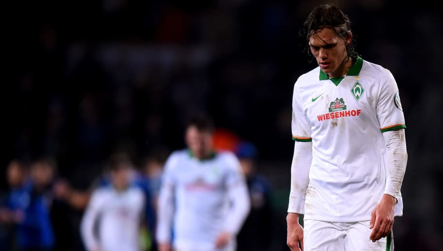 BIELEFELD, GERMANY - MARCH 04: Ludovic Obraniak of Werder Bremen looks dejected after loosing the round of 16 DFB Cup match between Arminia Bielefeld and Werder Bremen on March 4, 2015 in Bielefeld, Germany.  (Photo by Lars Baron/Bongarts/Getty Images)