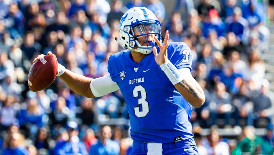 AMHERST, NY - SEPTEMBER 29: Tyree Jackson #3 of the Buffalo Bulls throws a pass against the Army Black Knights during a game at University at Buffalo Stadium on September 29, 2018 in Amherst, New York. (Photo by Dustin Satloff/Getty Images)