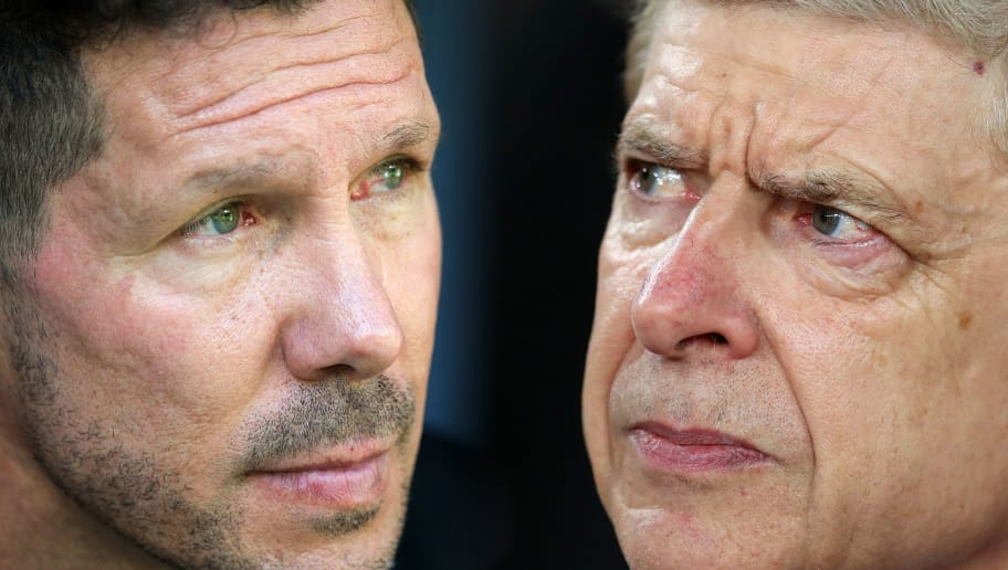 FILE PHOTO (EDITORS NOTE: GRADIENT ADDED - COMPOSITE OF TWO IMAGES - Image numbers (L) 852372342 and 942376156) In this composite image a comparison has been made between Manager Diego Simeone of Club Atletico de Madrid (L) and  Arsene Wenger of Arsenal . Arsenal FC and  Atletico Madrid meet in one of the  UEFA Europa League Semi Finals over two legs.  ***LEFT IMAGE*** MADRID, SPAIN - SEPTEMBER 23: Manager Diego Simeone of Club Atletico de Madrid looks on during the La Liga match between Atletico Madrid and Sevilla at Wanda Metropolitano on September 23, 2017 in Madrid, Spain. (Photo by Denis Doyle/Getty Images) ***RIGHT IMAGE***  LONDON, ENGLAND - APRIL 05: Arsene Wenger of Arsenal looks on during the UEFA Europa League quarter final leg one match between Arsenal FC and CSKA Moskva at Emirates Stadium on April 5, 2018 in London, United Kingdom. (Photo by Catherine Ivill/Getty Images)
