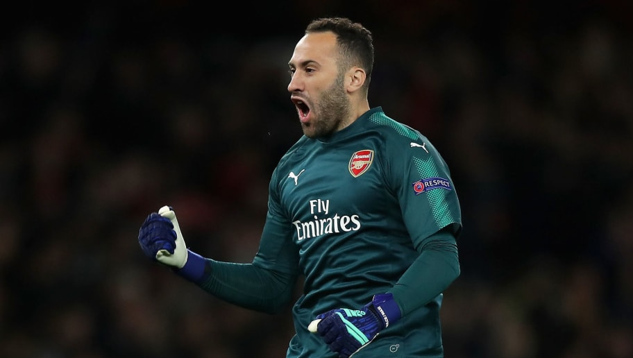 LONDON, ENGLAND - APRIL 26:  David Ospina of Arsenal celebrates after his side score their first goal during the UEFA Europa League Semi Final leg one match between Arsenal FC and Atletico Madrid at Emirates Stadium on April 26, 2018 in London, United Kingdom.  (Photo by Richard Heathcote/Getty Images)