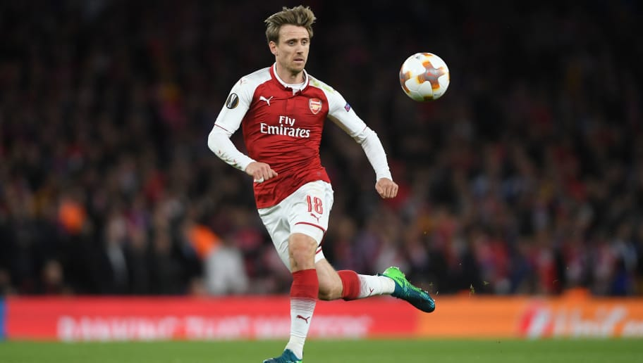 LONDON, ENGLAND - APRIL 26:  Nacho Monreal of Arsenal in action during the UEFA Europa League Semi Final leg one match between Arsenal FC and Atletico Madrid at Emirates Stadium on April 26, 2018 in London, United Kingdom.  (Photo by Mike Hewitt/Getty Images)