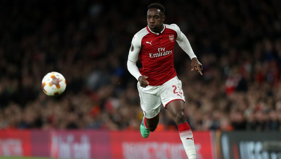 LONDON, ENGLAND - APRIL 26: Danny Welbeck of Arsenal in action during the UEFA Europa League Semi Final leg one match between Arsenal FC and Atletico Madrid at Emirates Stadium on April 26, 2018 in London, United Kingdom. (Photo by Richard Heathcote/Getty Images)