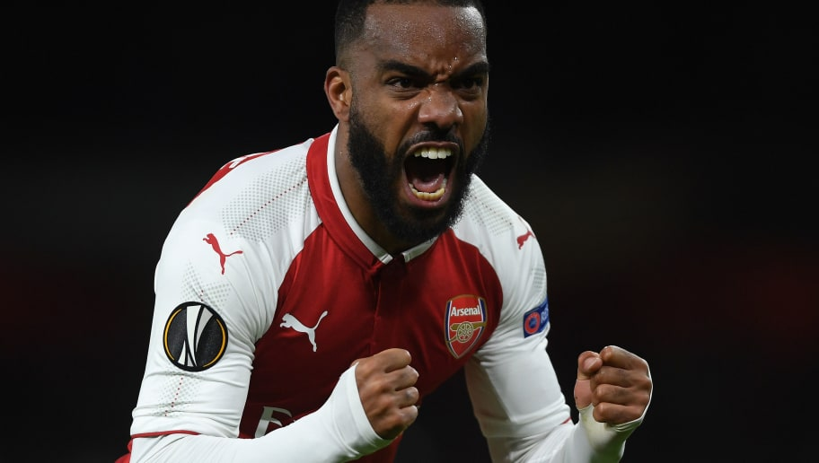 LONDON, ENGLAND - APRIL 26:  Alexandre Lacazette of Arsenal celebrates after scoring during the UEFA Europa League Semi Final leg one match between Arsenal FC and Atletico Madrid at Emirates Stadium on April 26, 2018 in London, United Kingdom.  (Photo by Mike Hewitt/Getty Images)