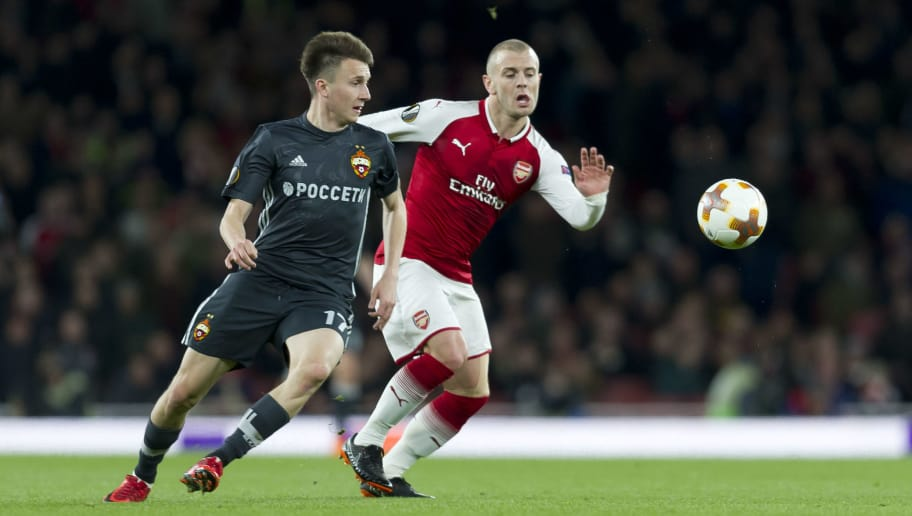 LONDON, ENGLAND - APRIL 05: Aleksandr Golovin of Moskva   and Jack Wilshere of Arsenal during the UEFA UEFA Europa League Quarter-Final first leg match between Arsenal FC and CSKA Moskva at Emirates Stadium on April 5, 2018 in London, United Kingdom. (Photo by TF-Images/TF-Images via Getty Images)