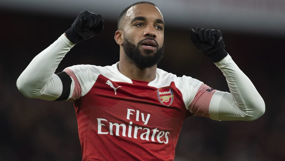 LONDON, ENGLAND - JANUARY 01: Alexandre Lacazette celebrates scoring for Arsenal during the Premier League match between Arsenal FC and Fulham FC at Emirates Stadium on January 1, 2019 in London, United Kingdom. (Photo by Visionhaus/Getty Images)