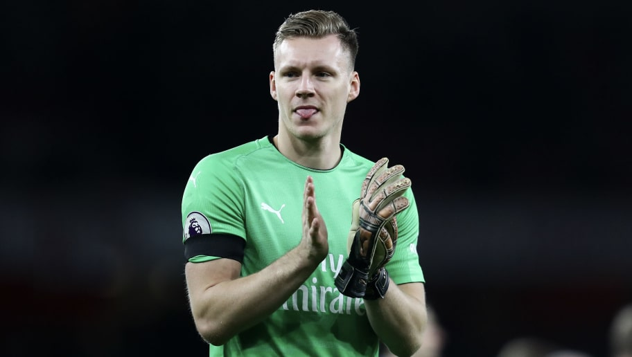 LONDON, ENGLAND - JANUARY 01: Bernd Leno of Arsenal reacts at full time after the Premier League match between Arsenal FC and Fulham FC at Emirates Stadium on January 1, 2019 in London, United Kingdom. (Photo by James Baylis - AMA/Getty Images)