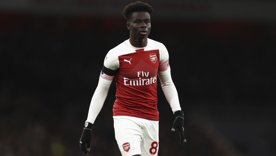 LONDON, ENGLAND - JANUARY 01: Bukayo Saka of Arsenal during the Premier League match between Arsenal FC and Fulham FC at Emirates Stadium on January 1, 2019 in London, United Kingdom. (Photo by James Baylis - AMA/Getty Images)