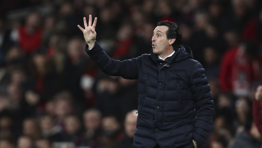 LONDON, ENGLAND - JANUARY 01: Unai Emery the manager / head coach of Arsenal during the Premier League match between Arsenal FC and Fulham FC at Emirates Stadium on January 1, 2019 in London, United Kingdom. (Photo by James Baylis - AMA/Getty Images)