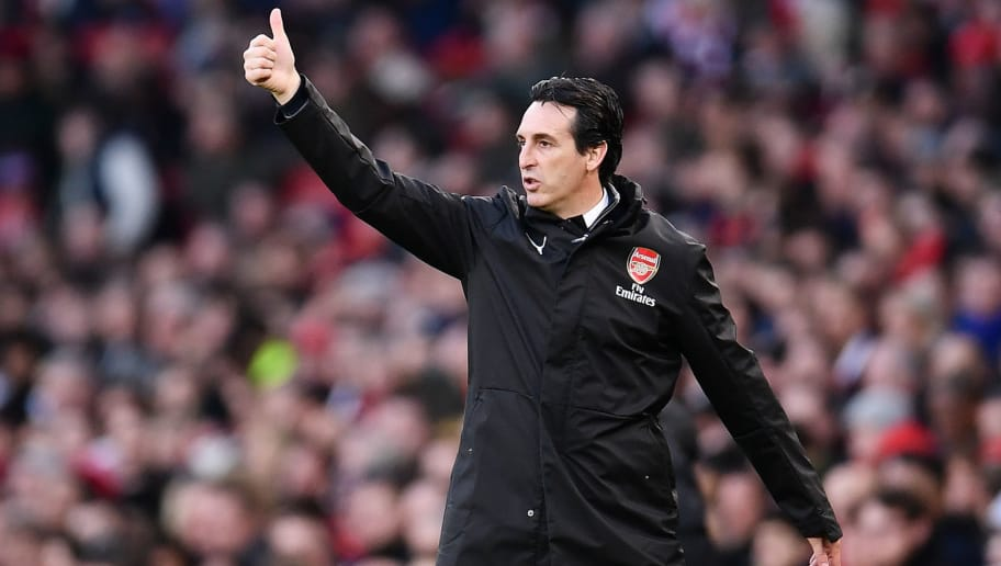 LONDON, ENGLAND - DECEMBER 08:   Unai Emery, Manager of Arsenal reacts during the Premier League match between Arsenal FC and Huddersfield Town at Emirates Stadium on December 8, 2018 in London, United Kingdom. (Photo by Justin Setterfield/Getty Images)