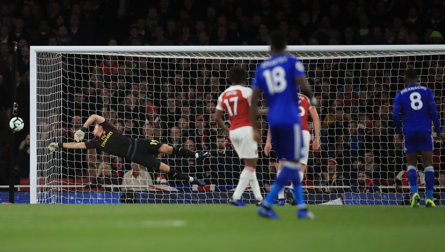 LONDON, ENGLAND - OCTOBER 22:  Bernd Leno of Arsenal saves a shot from Kelechi Iheanacho of Leicester City during the Premier League match between Arsenal FC and Leicester City at Emirates Stadium on October 22, 2018 in London, United Kingdom. (Photo by Marc Atkins/Getty Images)