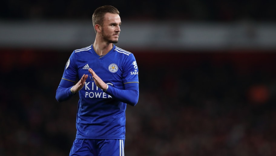 LONDON, ENGLAND - OCTOBER 22: James Maddison of Leicester City during the Premier League match between Arsenal FC and Leicester City at Emirates Stadium on October 22, 2018 in London, United Kingdom. (Photo by James Williamson - AMA/Getty Images)