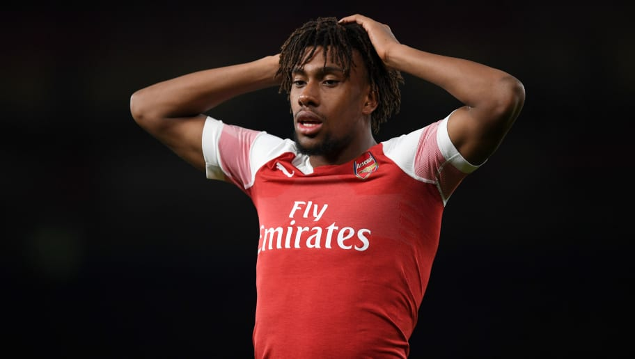LONDON, ENGLAND - OCTOBER 22:  Alex Iwobi of Arsenal reacts during the Premier League match between Arsenal FC and Leicester City at Emirates Stadium on October 22, 2018 in London, United Kingdom.  (Photo by Shaun Botterill/Getty Images)