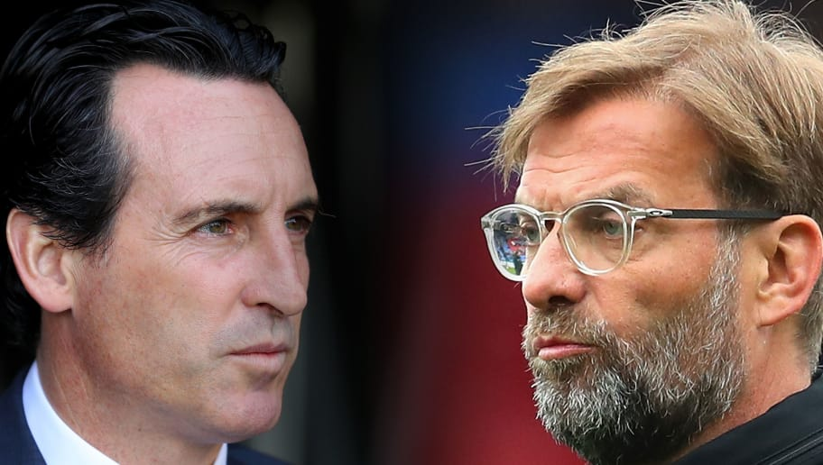 FILE PHOTO (EDITORS NOTE: COMPOSITE OF IMAGES - Image numbers 1046987928,940547396 - GRADIENT ADDED) In this composite image a comparison has been made between Unai Emery, Manager of Arsenal  (L) and Jurgen Klopp, Manager of Liverpool. Arsenal FC and Liverpool FC meet in a Premier League match on November 3, 2018  at the Emirates Stadium in London.   ***LEFT IMAGE*** LONDON, ENGLAND - OCTOBER 07: Unai Emery, Manager of Arsenal looks out the tunnel ahead of the Premier League match between Fulham FC and Arsenal FC at Craven Cottage on October 7, 2018 in London, United Kingdom. (Photo by Catherine Ivill/Getty Images) ***RIGHT IMAGE*** LONDON, ENGLAND - MARCH 31: Jurgen Klopp, Manager of Liverpool looks on as his team warm up prior to the Premier League match between Crystal Palace and Liverpool at Selhurst Park on March 31, 2018 in London, England. (Photo by Catherine Ivill/Getty Images)