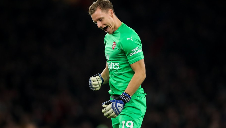 LONDON, ENGLAND - NOVEMBER 03: Bernd Leno of Arsenal celebrates during the Premier League match between Arsenal FC and Liverpool FC at Emirates Stadium on November 3, 2018 in London, United Kingdom. (Photo by Robbie Jay Barratt - AMA/Getty Images)