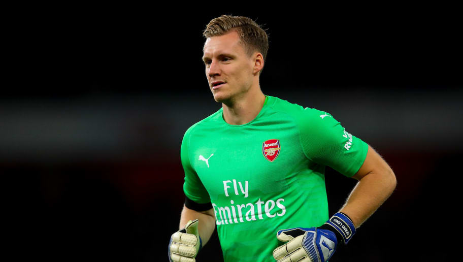 LONDON, ENGLAND - NOVEMBER 03: Bernd Leno of Arsenal during the Premier League match between Arsenal FC and Liverpool FC at Emirates Stadium on November 3, 2018 in London, United Kingdom. (Photo by Robbie Jay Barratt - AMA/Getty Images)