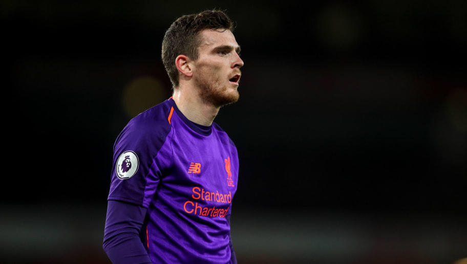 LONDON, ENGLAND - NOVEMBER 03: Andrew Robertson of Liverpool during the Premier League match between Arsenal FC and Liverpool FC at Emirates Stadium on November 3, 2018 in London, United Kingdom. (Photo by Robbie Jay Barratt - AMA/Getty Images)