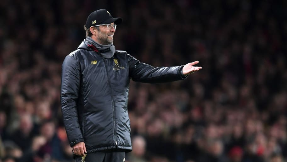 LONDON, ENGLAND - NOVEMBER 03:  Jurgen Klopp, Manager of Liverpool reacts during the Premier League match between Arsenal FC and Liverpool FC at Emirates Stadium on November 3, 2018 in London, United Kingdom.  (Photo by Michael Regan/Getty Images)