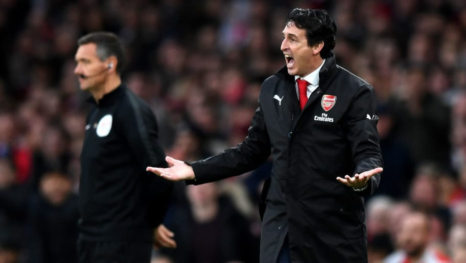 LONDON, ENGLAND - DECEMBER 02:  Unai Emery, Manager of Arsenal reacts during the Premier League match between Arsenal FC and Tottenham Hotspur at Emirates Stadium on December 1, 2018 in London, United Kingdom.  (Photo by Shaun Botterill/Getty Images)