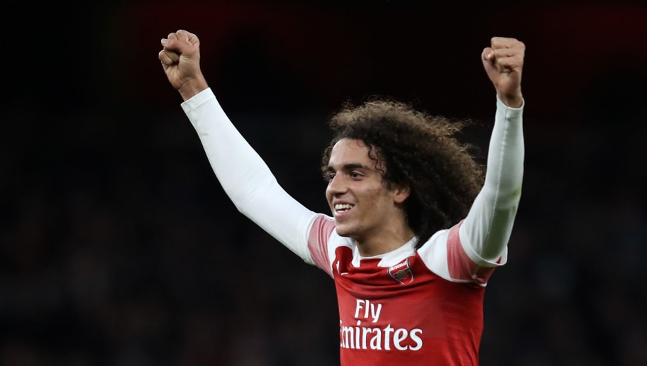 LONDON, ENGLAND - DECEMBER 02:  Matteo Guendouzi of Arsenal celebrates his team's victory after the Premier League match between Arsenal FC and Tottenham Hotspur at Emirates Stadium on December 1, 2018 in London, United Kingdom.  (Photo by Julian Finney/Getty Images)