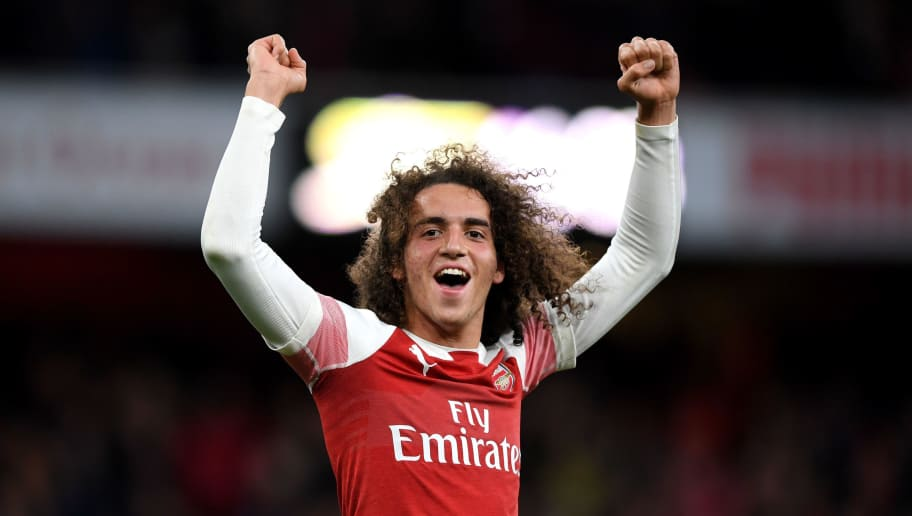 LONDON, ENGLAND - DECEMBER 02:  Matteo Guendouzi of Arsenal celebrates his team's victory after the Premier League match between Arsenal FC and Tottenham Hotspur at Emirates Stadium on December 1, 2018 in London, United Kingdom.  (Photo by Shaun Botterill/Getty Images)