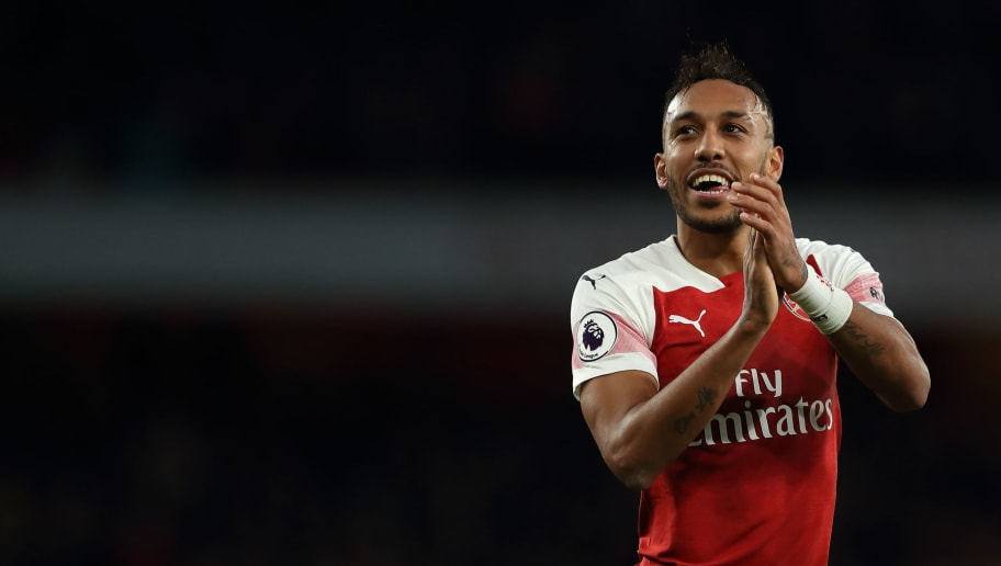 LONDON, ENGLAND - DECEMBER 02: Pierre-Emerick Aubameyang of Arsenal celebrates at full time after a 4-2 win over Tottenham in the Premier League match between Arsenal FC and Tottenham Hotspur at Emirates Stadium on December 2, 2018 in London, United Kingdom. (Photo by James Williamson - AMA/Getty Images)
