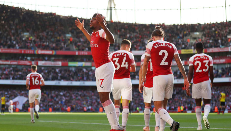 LONDON, ENGLAND - SEPTEMBER 29: Alex Iwobi of Arsenal celebrates during the Premier League match between Arsenal FC and Watford FC at Emirates Stadium on September 29, 2018 in London, United Kingdom. (Photo by Catherine Ivill/Getty Images)