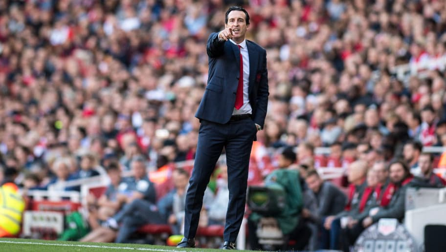 LONDON, ENGLAND - SEPTEMBER 29: Unai Emery manager of Arsenal during the Premier League match between Arsenal FC and Watford FC at Emirates Stadium on September 29, 2018 in London, United Kingdom. (Photo by Sebastian Frej/MB Media/Getty Images)