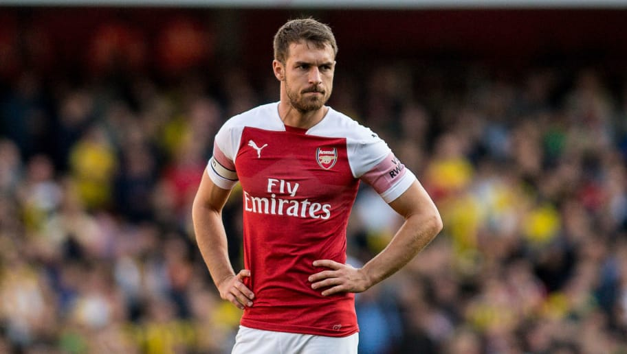 LONDON, ENGLAND - SEPTEMBER 29: Aaron Ramsey of Arsenal during the Premier League match between Arsenal FC and Watford FC at Emirates Stadium on September 29, 2018 in London, United Kingdom. (Photo by Sebastian Frej/MB Media/Getty Images)
