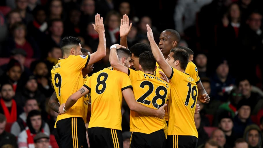 LONDON, ENGLAND - NOVEMBER 11: Ivan Cavaleiro of Wolverhampton Wanderers celebrates after scoring a goal to make it 0-1 during the Premier League match between Arsenal FC and Wolverhampton Wanderers at Emirates Stadium on November 11, 2018 in London, United Kingdom. (Photo by Sam Bagnall - AMA/Getty Images)