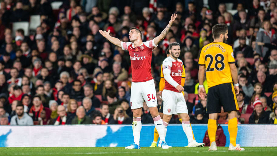 LONDON, ENGLAND - NOVEMBER 11: Granit Xhaka of Arsenal FC reacts during the Premier League match between Arsenal FC and Wolverhampton Wanderers at Emirates Stadium on November 11, 2018 in London, United Kingdom. (Photo by Sebastian Frej/MB Media/Getty Images)