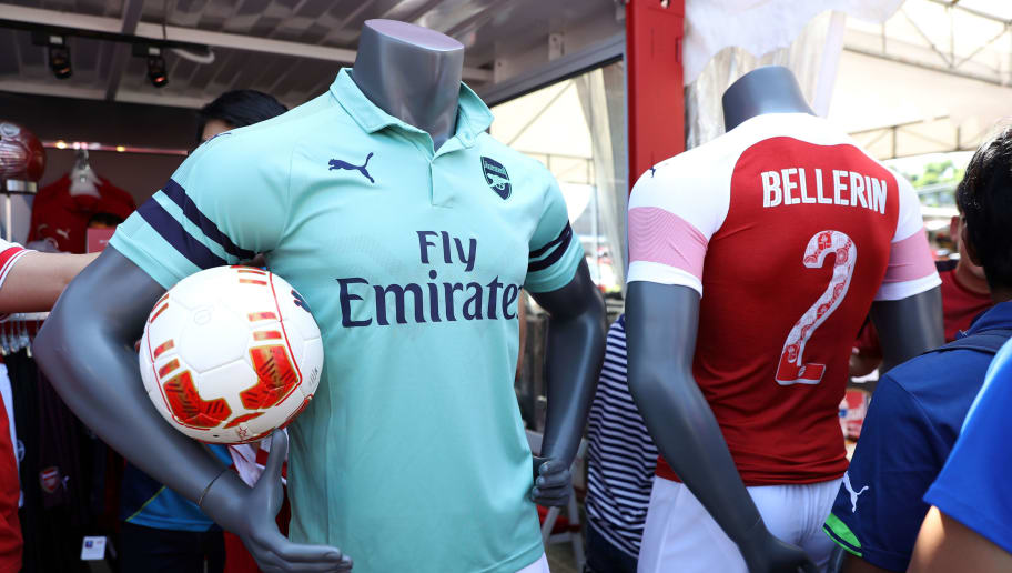 SINGAPORE, SINGAPORE - JULY 27: Arsenal Third Kit on display at the Arsenal Third Kit Launch on July 27, 2018 in Singapore. (Photo by Lionel Ng/Getty Images)