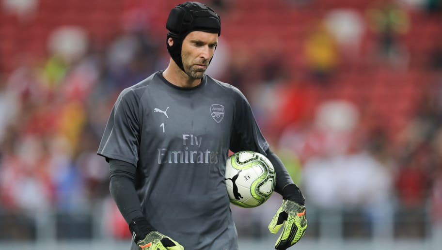 SINGAPORE, SINGAPORE - JULY 27: Petr Cech of Arsenal during the Arsenal Official Training Session at the National Stadium on July 27, 2018 in Singapore. (Photo by Pakawich Damrongkiattisak/Getty Images)
