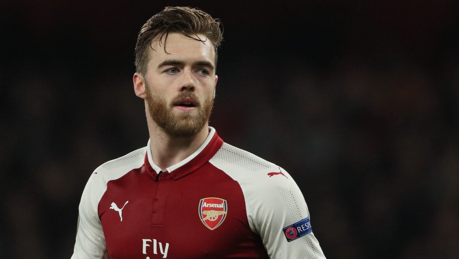 LONDON, ENGLAND - MARCH 15: Calum Chambers of Arsenal during the UEFA Europa League Round of 16: Second Leg match between Arsenal and AC Milan at Emirates Stadium on March 15, 2018 in London, England. (Photo by Matthew Ashton - AMA/Getty Images)