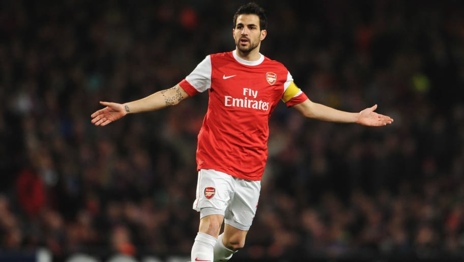 LONDON, ENGLAND - FEBRUARY 16:  Cesc Fabregas of Arsenal shows his frustration during the UEFA Champions League round of 16 first leg match between Arsenal and Barcelona at the Emirates Stadium on February 16, 2011 in London, England.  (Photo by Jasper Juinen/Getty Images)