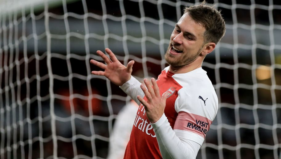 LONDON, ENGLAND - OCTOBER 31: Aaron Ramsey of Arsenal during the Carabao Cup Fourth Round match between Arsenal and Blackpool at Emirates Stadium on October 31, 2018 in London, England. (Photo by Marc Atkins/Getty Images)