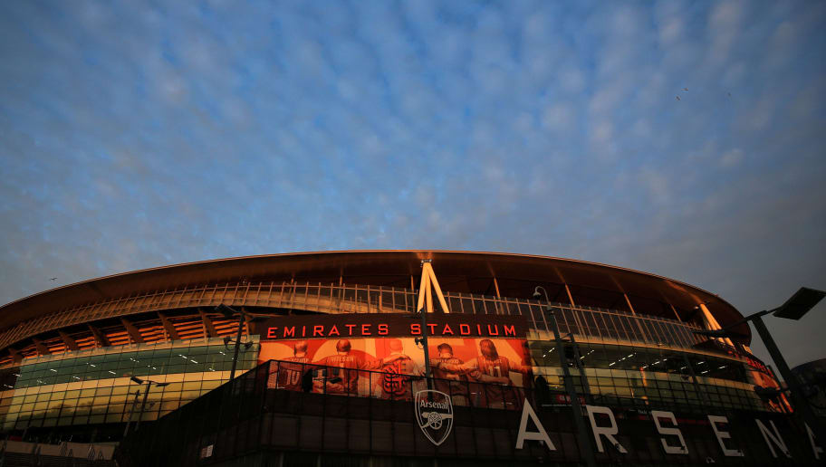 LONDON, ENGLAND - OCTOBER 31: A general view of Emirates Stadium at Sunset during the Carabao Cup Fourth Round match between Arsenal and Blackpool at Emirates Stadium on October 31, 2018 in London, England. (Photo by Marc Atkins/Getty Images)
