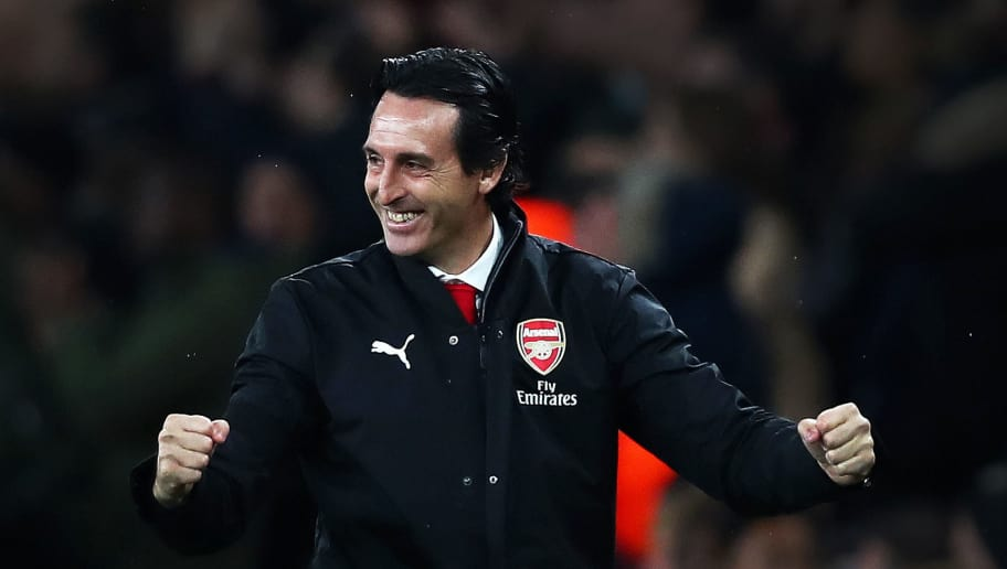 LONDON, ENGLAND - OCTOBER 31:  Unai Emery, Manager of Arsenal celebrates after his team score their sides first goal during the Carabao Cup Fourth Round match between Arsenal and Blackpool at Emirates Stadium on October 31, 2018 in London, England.  (Photo by Naomi Baker/Getty Images)