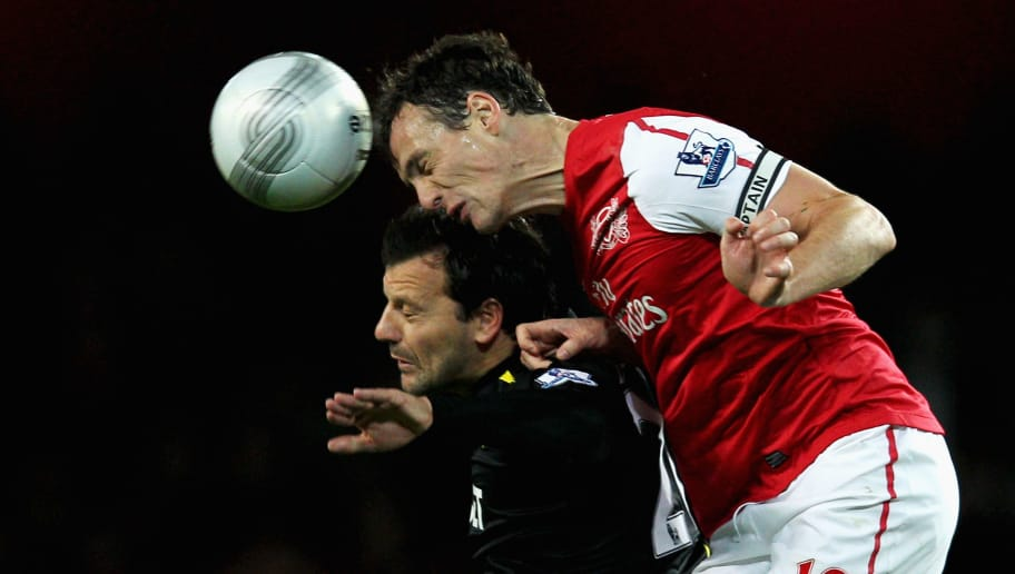 LONDON, ENGLAND - OCTOBER 25: Sebastien Squillaci of Arsenal and Robbie Blake of Bolton battle for the header during the Carling Cup Fourth Round match between Arsenal and Bolton Wanderers at Emirates Stadium on October 25, 2011 in London, England. (Photo by Dean Mouhtaropoulos/Getty Images)