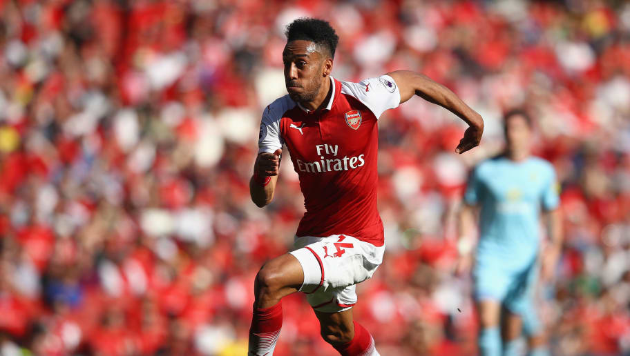 LONDON, ENGLAND - MAY 06:  Pierre-Emerick Aubameyang of Arsenal in action during the Premier League match between Arsenal and Burnley at Emirates Stadium on May 6, 2018 in London, England.  (Photo by Clive Mason/Getty Images)