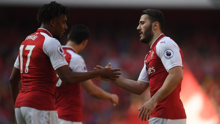 LONDON, ENGLAND - MAY 06:  Sead Kolasinac of Arsenal celebrates his goal with Alex Iwobi during the Premier League match between Arsenal and Burnley at Emirates Stadium on May 6, 2018 in London, England.  (Photo by Mike Hewitt/Getty Images)