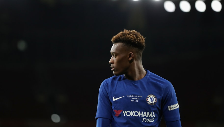 LONDON, ENGLAND - APRIL 30:  Callum Hudson-Odoi of Chelsea looks on during the FA Youth Cup Final, second leg match between Arsenal and Chelsea at Emirates Stadium on April 30, 2018 in London, England.  (Photo by Linnea Rheborg/Getty Images)