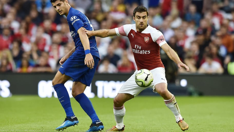 DUBLIN, IRELAND - AUGUST 01: Sokratis Papastathopoulos of Arsenal and Alvaro Morata of Chelsea during the Pre-season friendly International Champions Cup game between Arsenal and Chelsea at Aviva stadium on August 1, 2018 in Dublin, Ireland. (Photo by Charles McQuillan/Getty Images)