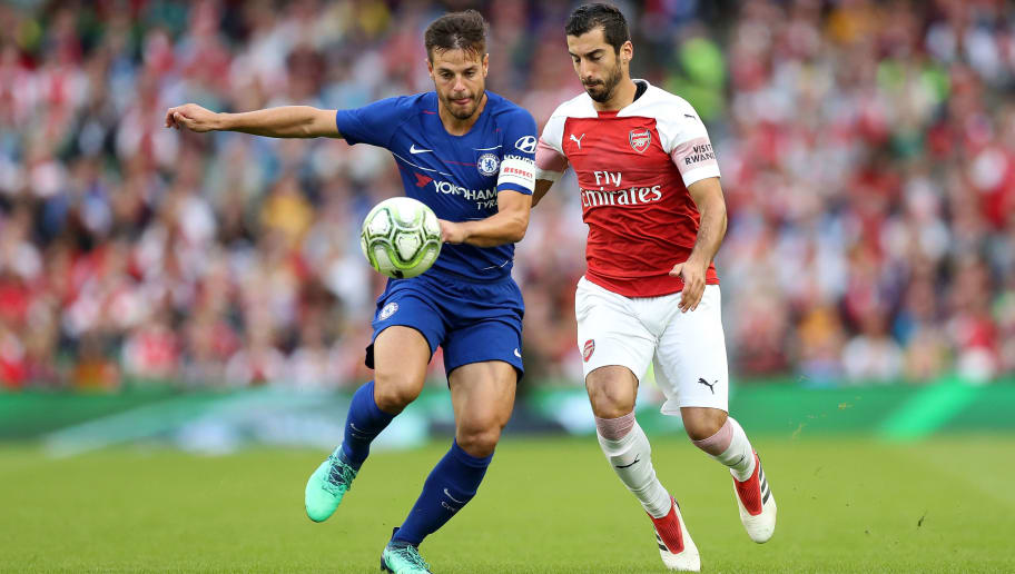 DUBLIN, IRELAND - AUGUST 01: Henrikh Mkhitaryan of Arsenal competes for the ball with Cesar Azpilicueta of Chelsea during the International Champions Cup 2018 match between Arsenal and Chelsea at the Aviva Stadium on August 1, 2018 in Dublin, Ireland. (Photo by Alex Morton/International Champions Cup/Getty Images)