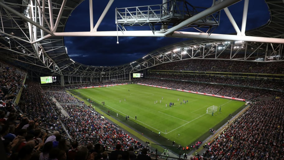 DUBLIN, DUBLIN - AUGUST 01:  General view of play during the International Champions Cup 2018 match between Arsenal and Chelsea at the Aviva Stadium on August 1, 2018 in Dublin, Ireland.  (Photo by Alex Morton/International Champions Cup/Getty Images)