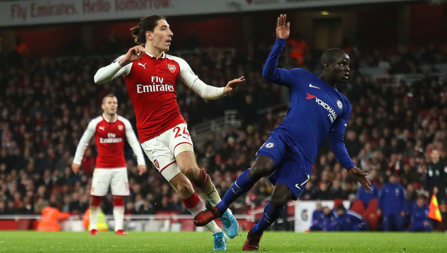 LONDON, ENGLAND - JANUARY 03:  Hector Bellerin of Arsenal scorea a goal to make the score 2-2 during the Premier League match between Arsenal and Chelsea at Emirates Stadium on January 3, 2018 in London, England.  (Photo by Matthew Ashton - AMA/Getty Images)