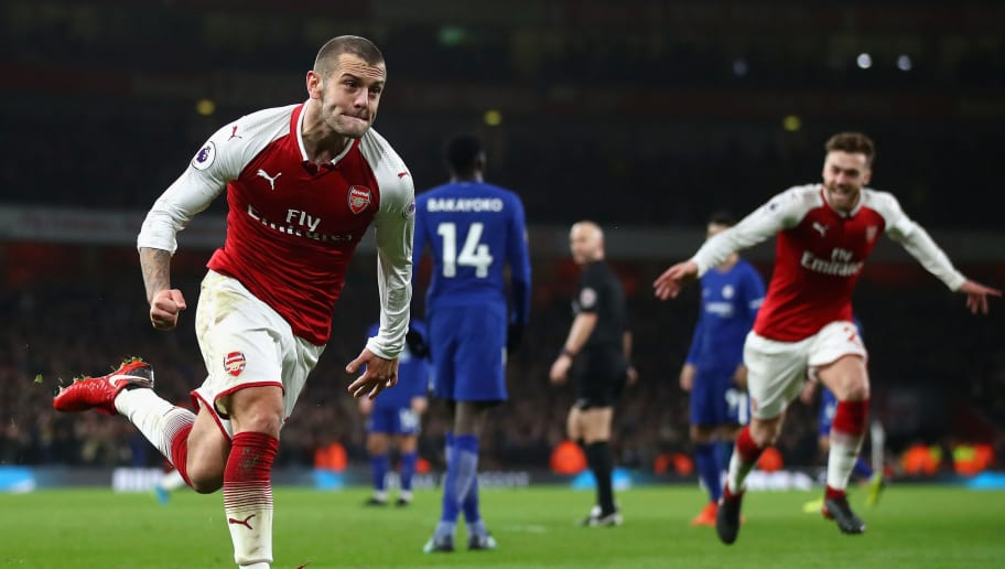 LONDON, ENGLAND - JANUARY 03:  Jack Wilshire of Arsenal celebrates scoring his teams first goal during the Premier League match between Arsenal and Chelsea at Emirates Stadium on January 3, 2018 in London, England.  (Photo by Julian Finney/Getty Images)