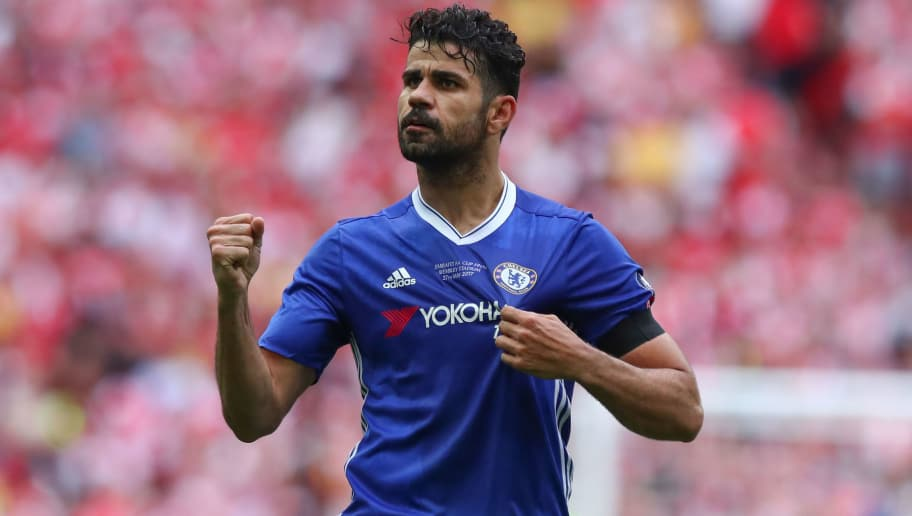 LONDON, ENGLAND - MAY 27:  Diego Costa of Chelsea celebrates after scoring a goal to make it 1-1 during the Emirates FA Cup Final match between Arsenal and Chelsea at Wembley Stadium on May 27, 2017 in London, England. (Photo by Robbie Jay Barratt - AMA/Getty Images)