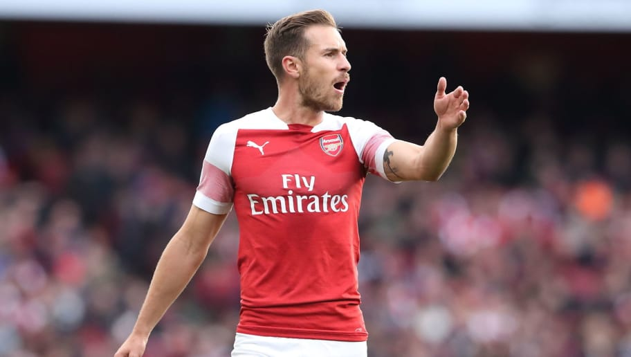 LONDON, ENGLAND - SEPTEMBER 23: Aaron Ramsey of Arsenal during the Premier League match between Arsenal FC and Everton FC at Emirates Stadium on September 23, 2018 in London, United Kingdom. (Photo by James Williamson - AMA/Getty Images)